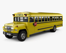 3D model of Ford B-700 Thomas Conventional School Bus 1984