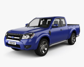 3D model of Ford Ranger Extended Cab 2009