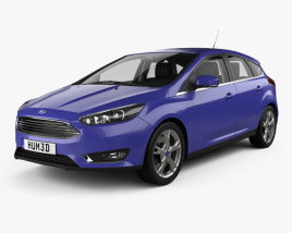 3D model of Ford Focus hatchback with HQ interior 2014