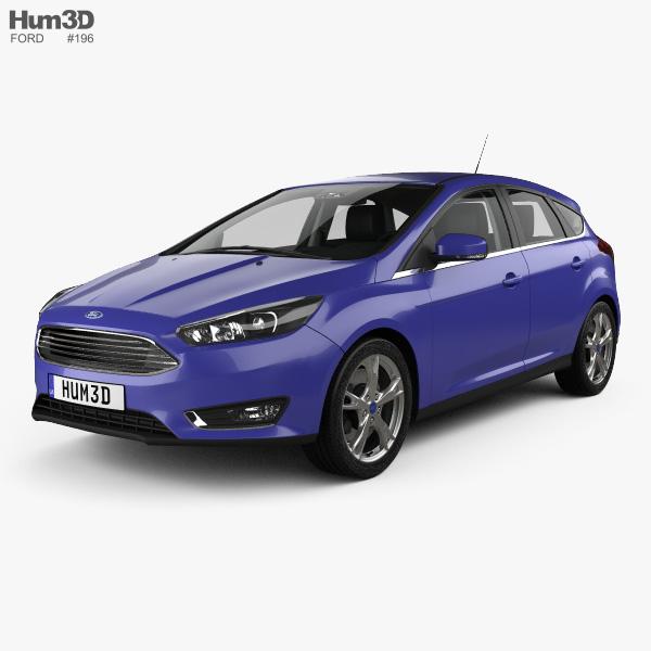 Ford Focus hatchback with HQ interior 2014 3D model