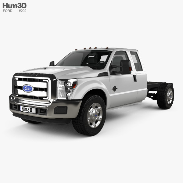 3D model of Ford F-450 Super Cab Chassis 2010