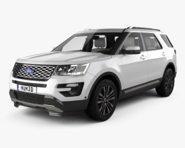 3D model of Ford Explorer (U502) Platinum with HQ interior 2015