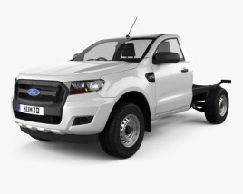 3D model of Ford Ranger Single Cab Chassis XL 2015
