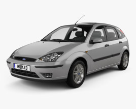 3D model of Ford Focus 5-door hatchback 2002