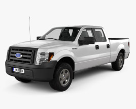 3D model of Ford F-150 Super Crew Cab XL 2014