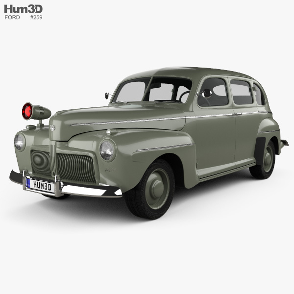 3D model of Ford V8 Super Deluxe Tudor Sedan Army Staff Car 1942