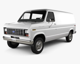 3D model of Ford E-Series Econoline Cargo Van 1986