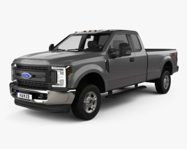 3D model of Ford F-250 Super Duty Super Cab XLT 2015