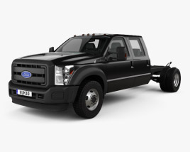 3D model of Ford F-550 Crew Cab Chassis 2010