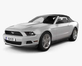 3D model of Ford Mustang V6 Convertible with HQ interior 2010