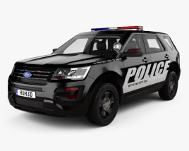 3D model of Ford Explorer Police Interceptor Utility with HQ interior 2016