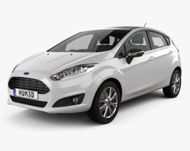 3D model of Ford Fiesta 5-door with HQ interior 2013