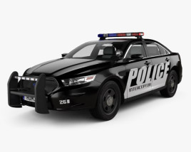 3D model of Ford Taurus Police Interceptor Sedan with HQ interior 2013