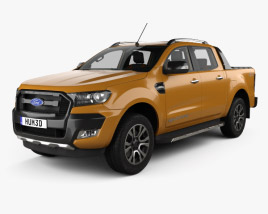 3D model of Ford Ranger Double Cab Wildtrak with HQ interior 2016