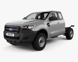 3D model of Ford Ranger Super Cab Chassis XL 2015