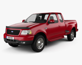 3D model of Ford F-150 Club Cab Flareside XLT 1999