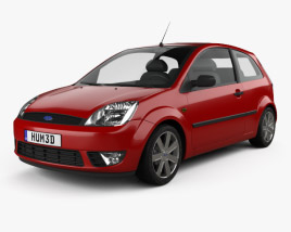 3D model of Ford Fiesta hatchback 3-door 2002