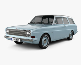3D model of Ford Taunus (P6) 12M station wagon 1967