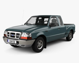 3D model of Ford Ranger (NA) Extended Cab Flare Side XLT 1998