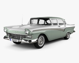 3D model of Ford Custom 300 Fordor sedan 1957