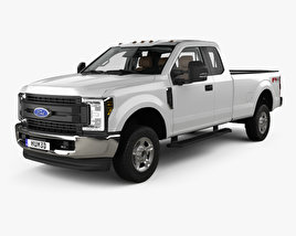3D model of Ford F-250 Super Duty Super Cab XLT with HQ interior 2015