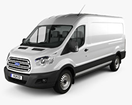 3D model of Ford Transit Panel Van L2H2 with HQ interior 2012