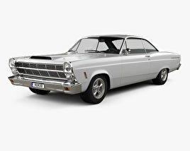 3D model of Ford Fairlane 500GT coupe 1966