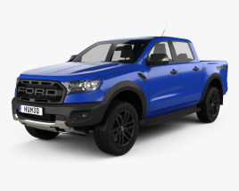 3D model of Ford Ranger Double Cab Raptor 2018