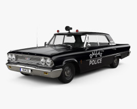3D model of Ford Galaxie 500 Hardtop Dallas Police 4-door 1963