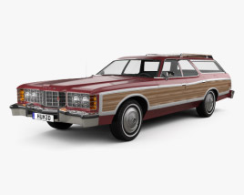 3D model of Ford Galaxie station wagon 1973