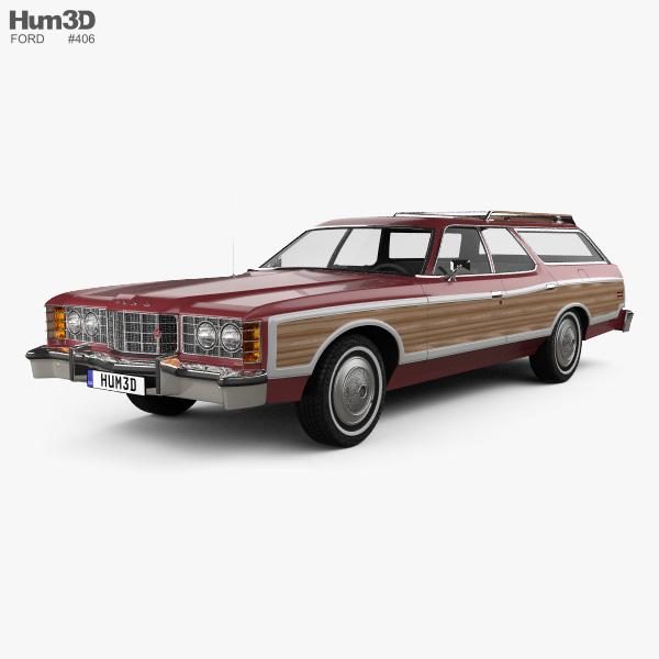 Ford Galaxie station wagon 1973 3D model
