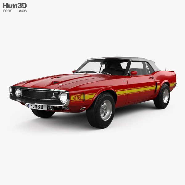 Ford Mustang GT500 Shelby convertible with HQ interior 1969 3D model