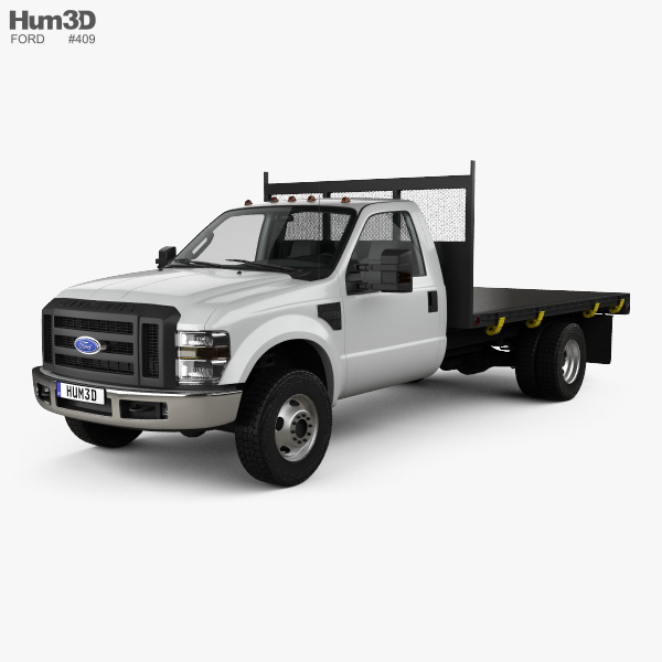 3D model of Ford F-350 Regular Cab Flatbed with HQ interior 2010