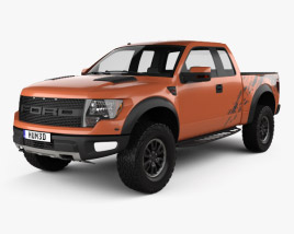3D model of Ford F-150 SVT Raptor Super Cab 2009
