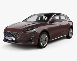 3D model of Ford Focus Vignale hatchback 2018
