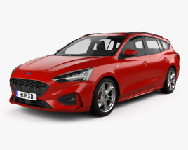 3D model of Ford Focus ST-Line turnier 2018