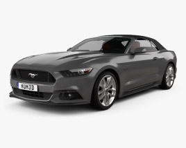 3D model of Ford Mustang GT convertible with HQ interior 2015