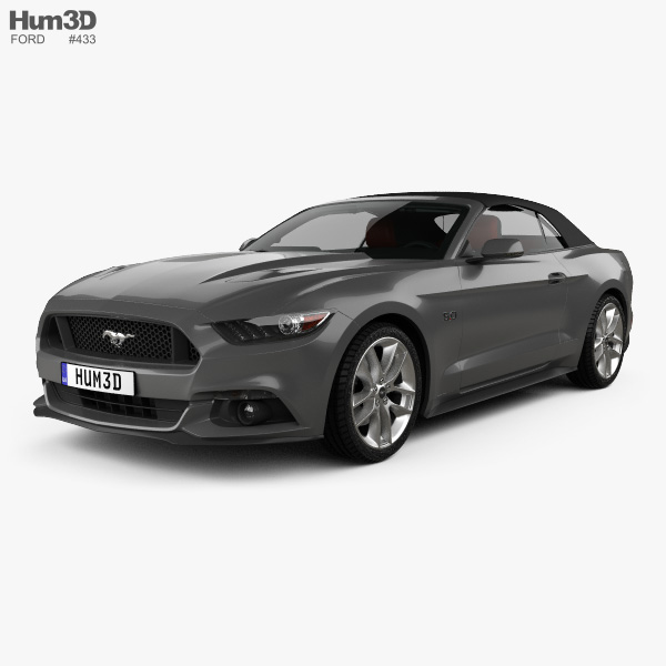 Ford Mustang GT convertible with HQ interior 2015 3D model