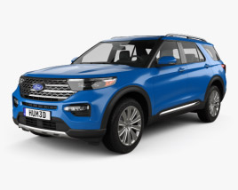 3D model of Ford Explorer Limited Hybrid 2020
