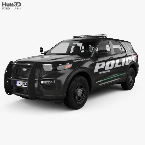 Ford Explorer Polícia Interceptor Utility 2020 Modelo 3d
