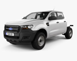 3D model of Ford Ranger Double Cab Chassis XL 2016