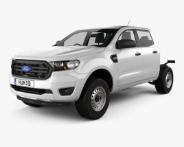 3D model of Ford Ranger Double Cab Chassis XL 2018