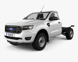 3D model of Ford Ranger Single Cab Chassis XL 2018