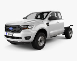 3D model of Ford Ranger Super Cab Chassis XL 2018