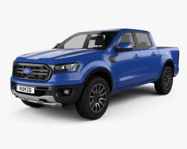 3D model of Ford Ranger Super Crew Cab FX4 Lariat US-spec 2018