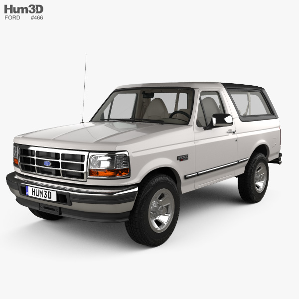Ford Bronco with HQ interior 1992 3D model