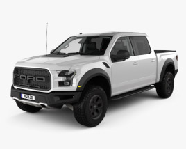3D model of Ford F-150 Super Crew Cab Raptor with HQ interior 2016