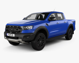 3D model of Ford Ranger Double Cab Raptor with HQ interior and engine 2018
