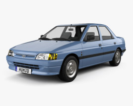 3D model of Ford Escort Ghia 5-door hatchback 1990
