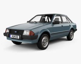3D model of Ford Escort hatchback 1980